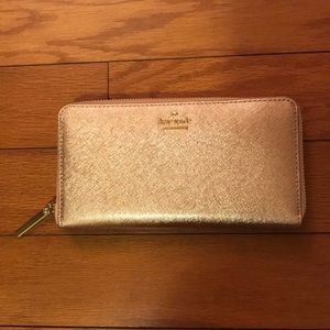 NWOT Kate Spade Rose Gold Metallic Wallet